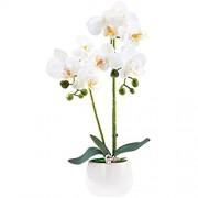 Alicemall Kunstpflanze Künstliche Blumen aus Kunststoff Deko Kunstbulme mit Übertopf Garten Balkon Wohnzimmer Hochzeit 33x8Weiß