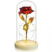 Clheatky Verzaubert Rote Rose im Glas Geschenk Kit Ewige Kunstblumen LED-Licht Holzsockel mit Geschenkbox Hauptdekor für Frauen Freundin Valentinstag Muttertag Geburtstag Hochzeit Jubiläum