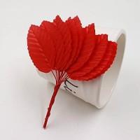 Leaf Künstliche Blumen aus Nylon-Seide grüne Blätter 5 cm für Hochzeitsdekoration Bastelarbeiten Kranz Geschenk Scrapbooking Kunstblumen rot 120 Stück