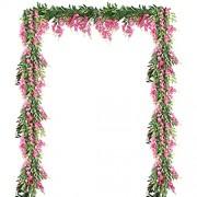 LESHABAYER Künstliche Blumen aus Seide Glyzinie Bohnen-Blumen Rattan Kunstblumen hängende Girlande für Bastelarbeiten Zuhause Büro Hochzeit Wand Party DIY-Dekoration Hot Pink