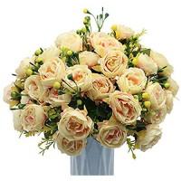 MZMing [4 Stück Künstliche Pfingstrose Blumen Gefälschte Pfingstrosen Blumensträuße Simulation Blumenarrangement mit Knospen und Blättern für Zuhause Büro Garten Hochzeit Party Dekor - Champagner