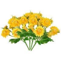 NewZC Künstliche Blumen 4 Stück Kunstblumen Gerbera Gänseblümchen Künstliche Kunstpflanzen – 5 Zweige 10 Köpfe Seide Blumen Kunstblumen Orange