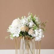 SHINE-CO LIGHTING Künstliche Pfingstrosen Seide Hortensien Blumenstrauß Nelken Kunstblume für Zuhause Büro Hochzeit Dekoration 2 Packungen weiß