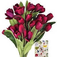 SnailGarden 3 Strauße/27 Köpfe Dunkellila Künstliche Tulpen Blumen Seide Kunstblumen Tulpen Strauß mit 1 Grußkarte Kunst Tulpen Deko für Hochzeit Hause Party Festival Blumenarrangement