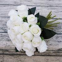 Künstliche Blumen Künstliche Rose Blumen Weiße Braut Hochzeit Blumenstrauß 18pcs / Lots for Shoting Hochzeit Home Hotel-Partei-Dekoration Blumenarrangements