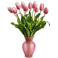 Künstliches Blumenarrangement in rosafarbener Vase 56 cm