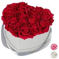Relaxdays Rosenbox Herz 18 Rosen stabile Flowerbox grau 10 Jahre haltbar Geschenkidee dekorative Blumenbox rot