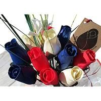 The Original Wooden Rose Patriotische Feiertagsblumen rot weiß und blau zum vierten Juli Gedenktag Präsidentententag 1 Dutzend