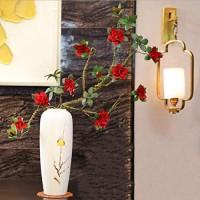 TONGOU 2 Stück künstliche Azaleen im chinesischen Stil Zen-Blumenarrangement Kunst Zweig Modellierung künstliche Blumen Heimdekoration Ornamente rot.