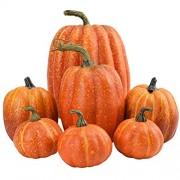 Bireegoo 7 Stück Kunstschaum-Kürbis Halloween-Dekoration künstliche Früchte Heimküche Dekoration künstlicher gelber Mini-Kürbis für Halloween Herbst und Erntedankfest