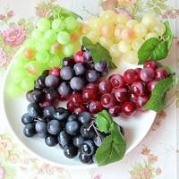 HANSHI Künstliche Weintrauben künstliches Obst für Küche Büro und als Fotorequisit Grün Gelb Rot Schwarz 4Stück 4 Farben