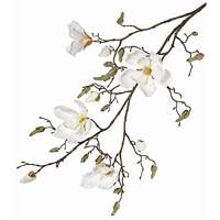 artplants.de Deko Magnolienzweig LORA 4 Blüten Knospen Creme - weiß 110cm - Künstlicher Zweig - Deko Blumen