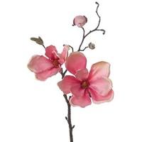 artplants.de Set 9 x Künstlicher Magnolien Zweig MALBINE 2 Blüten rosa 50cm - Deko Zweig/Künstliche Magnolie