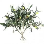 home & garden Künstliche Olivenpflanzen Zweige künstliche Früchte Seidenpflanzen Zweige Blätter ndoor Außenbereich Büro Verandah Dekor 4 Stück