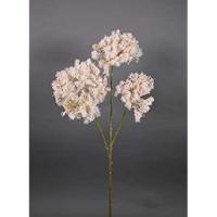 Seidenblumen Roß Cotinuszweig/Perückenzweig mit Schnee und EIS 70cm Hellrosa GA künstlicher Zweig