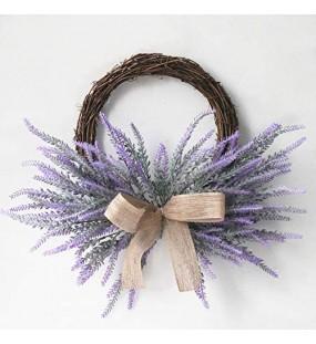 UNIE Künstlicher Lavendelblumenkranz Frühlingstürkranz künstlicher Lavendel Blumenkranz für Außen- und Innenbereich Wand oder Fensterdekoration