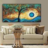 Abstrakte Baum Sunset Welle Ölgemälde auf Leinwand Poster und Drucke Skandinavischen Wand Kunst Bild für Wohnzimmer Cuadros Decor Malerei und Kalligraphie
