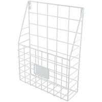 HomeDecTime Wandorganizer Metall Korb Zeitungsständer Magazinhalter Zeitschriftenhalter für Zuhause Büro - Weiß