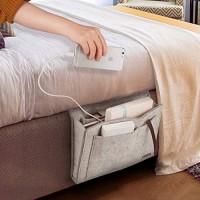 Hyness Nachttisch-Organizer Tischschrank Hängeaufbewahrung Organizer Sofa-Filz Nachttischtasche Untermatratzenhalter Tasche für Bücher iPad Tablet Fernbedienungen Grau