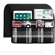 Joywell Leinen Kariert Sofa Armlehne Organizer Fernbedienung Halter für Liege Couch Sessel Caddy mit 6 Taschen für Magazin Tablet Telefon iPad Schwarz