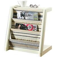 MIAOLIANG Zeitschriften- & Zeitungshalter Massivholz-7-Pocket-Free-Standing Magazine Rack Milchig