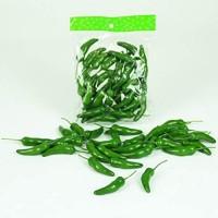Künstliche CHILISCHOTEN 6 cm. 30 Stück. Chili Paprika Gemüse Peperoni. GRÜN. 32015 07