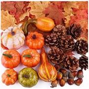 VASIN künstliche Kürbisse Herbstdekoration Set Halloween Mini gefälschte Kürbisse Mini künstliche Kürbis gefälschte Simulation Gemüse orange