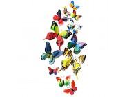 3D-Wandaufkleber Schmetterling an der Wand Raumdekoration Kühlschrank-Aufkleber Schlafzimmer-Aufkleber doppelschichtig regenbogenfarben