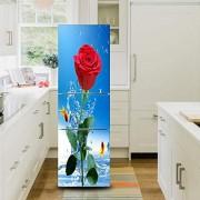 DEENLI Kühlschrankaufkleber Große Kühlschrank Dekoration Aufkleber Kreative Kühlschranktür Aufkleber 3D Romantische Rose Aufkleber DIY Kühlschrank Tür Dekoration Aufkleber 60Cmx150Cm