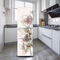 DEENLI Kühlschrankaufkleber Selbstklebender Kühlschrankaufkleber Küche Esszimmer Aquarellmalerei Schöne Blume