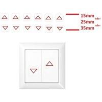 Generisch 12 Stück Schalter Aufkleber rauf runter Symbol Schalteraufkleber R23/18 2 5 x 2 5 cm
