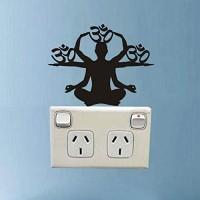 Hhuycvff vwuig Yoga Silhouette Schalter Aufkleber PVC Dekor Wandtattoo Sind Lichtschalter Aufkleber