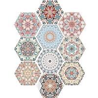 Irich Selbstklebend Fliesenaufkleber DIY Bodenaufkleber 10 Stück Wasserdicht PVC Wandfliese Aufkleber für Boden Küche Bad Wand Dusche