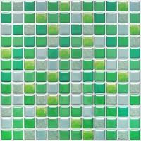 SHINGONE 3D Fliesenaufkleber Mosaik Wandaufkleber Wohnzimmer Selbstklebende 3D-Mosaik-Fliesenaufkleber Fliesen Sticker für Küche Fliesensticker Badezimmer Grün 4er Pack 23.6 x 23.6cm